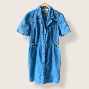 VINTAGE Cartise Jean Button Down Denim Dress